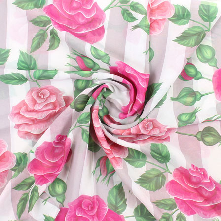 White Pink and Green Flower Georgette Silk Fabric-15107